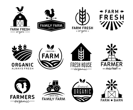 Vector illustration set of organic products logos and labels. Farm logos, fresh and healthy food logotypes collection isolated on white background.