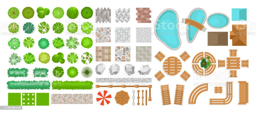 Vector Illustration Set Of Park Elements For Landscape