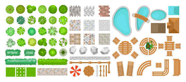 Vector illustration set of park elements for landscape design. Top view of trees, outdoor furniture, plants and architectural elements, fences, sun loungers, umbrellas isolated on white background isolated on white background in flat style.