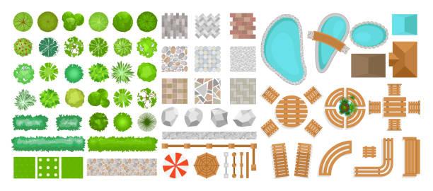 展示圖集合公園元素為風景設計。樹的頂部視圖, 戶外傢俱, 植物和建築元素, 圍欄, 太陽椅, 雨傘隔離在白色背景上, 在白色背景中被孤立在扁平的風格。 - 橫向 幅插畫檔、美工圖案、卡通及圖標