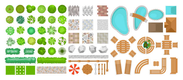 Vector illustration set of park elements for landscape design. Top view of trees, outdoor furniture, plants and architectural elements, fences, sun loungers, umbrellas isolated on white background isolated on white background in flat style. Vector illustration set of park elements for landscape design. Top view of trees, outdoor furniture, plants and architectural elements, fences, sun loungers, umbrellas isolated on white background isolated on white background in flat style landscaped stock illustrations