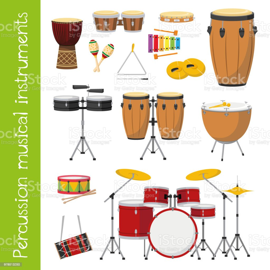 vektorillustrationset percussion musikinstrumente im cartoonstil die
