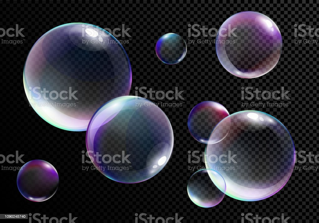 Vector illustration set of realistic bright soap bubbles with rainbow colors on transparent black background. - Grafika wektorowa royalty-free (Abstrakcja)
