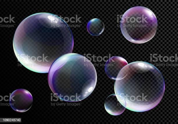 向量例證一套現實地明亮的肥皂泡與彩虹顏色在透明的黑色背景向量圖形及更多一組物體圖片
