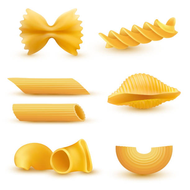 Vector illustration set of realistic icons of dry macaroni, pasta of various kinds Vector illustration set of realistic icons of dry macaroni of various kinds, pasta, fusilli, conchiglio, rigatoni, farfalle, penne isolated on white background bow tie pasta stock illustrations