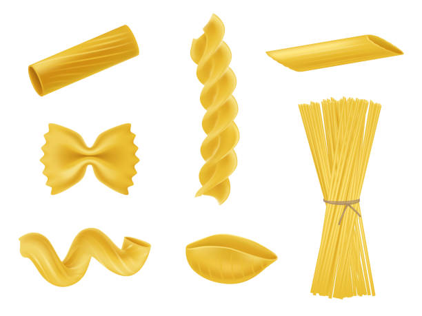 illustrazioni stock, clip art, cartoni animati e icone di tendenza di vector illustration set of realistic icons of dry macaroni, pasta of various kinds - pasta