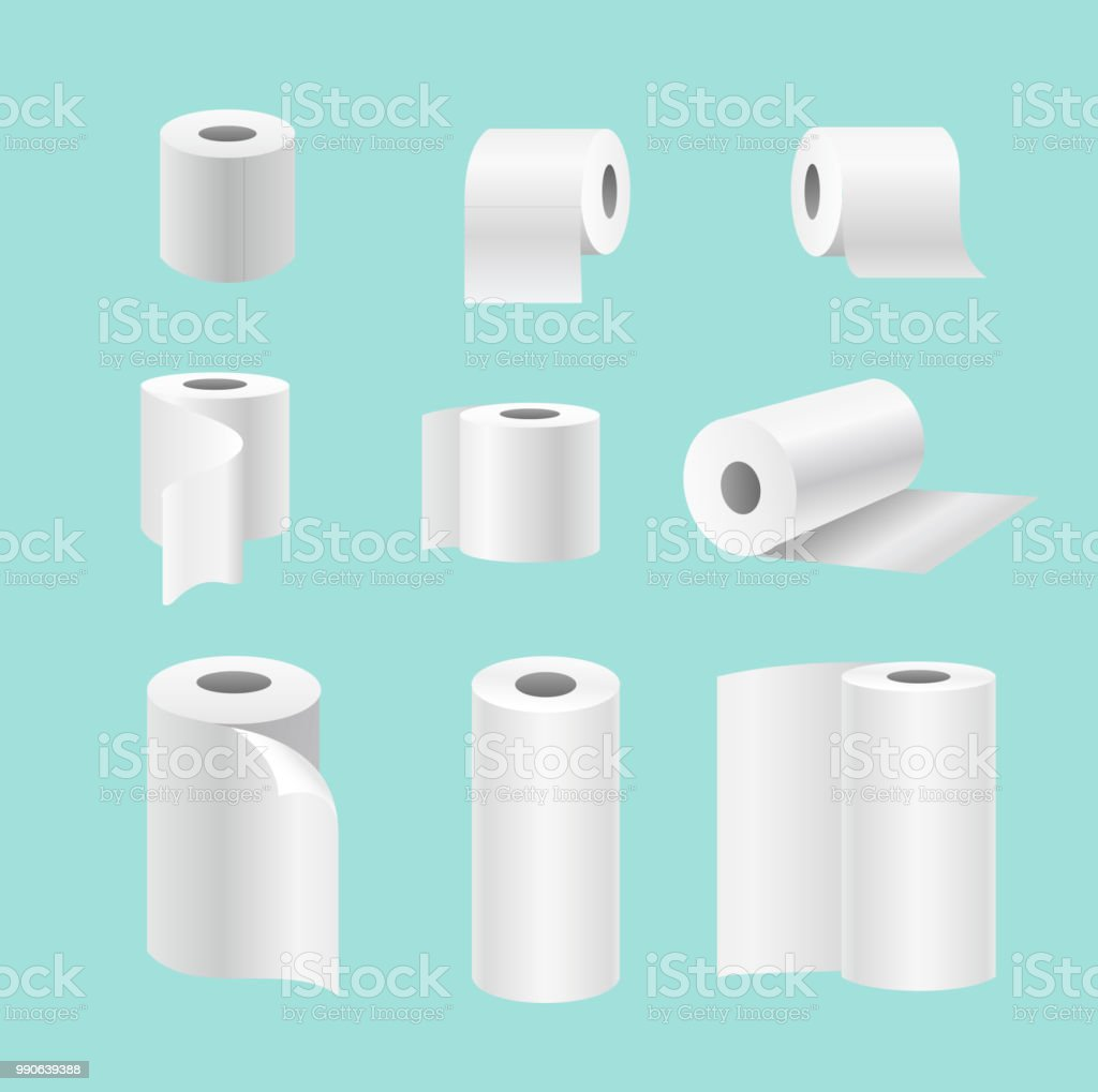 Vector Illustration Set Of Realistic Paper Rolls Isolated On Blue ...