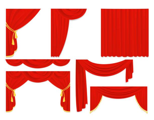 stockillustraties, clipart, cartoons en iconen met vector illustratie set rode zijden gordijnen, velours gordijnen, interieur ontwerp geïsoleerd op de witte kleur in platte ontwerp. - gordijn