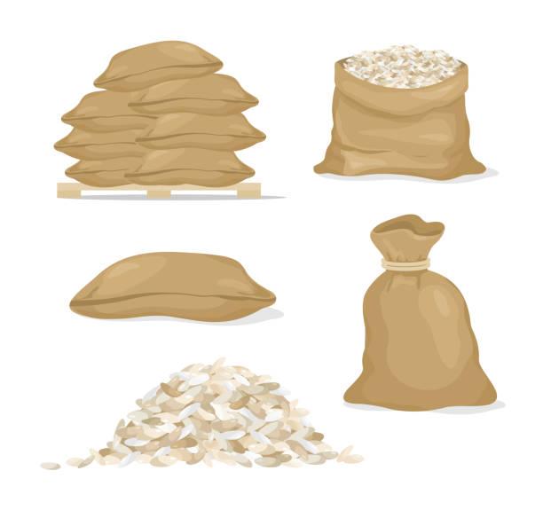 vektor-illustration-set von reis in taschen und reis korn, getreide im cartoon-stil auf weißem hintergrund. - zeichensetzung stock-grafiken, -clipart, -cartoons und -symbole