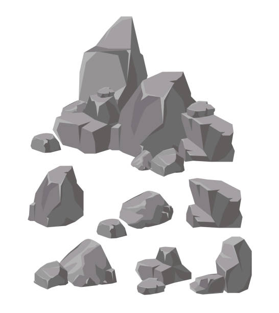 vector illustration set of rocks and stones grey colors. cartoon stone and elements for game in flat style. - skała stock illustrations