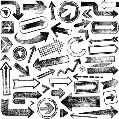 Vector illustration set of rubber stamp arrows