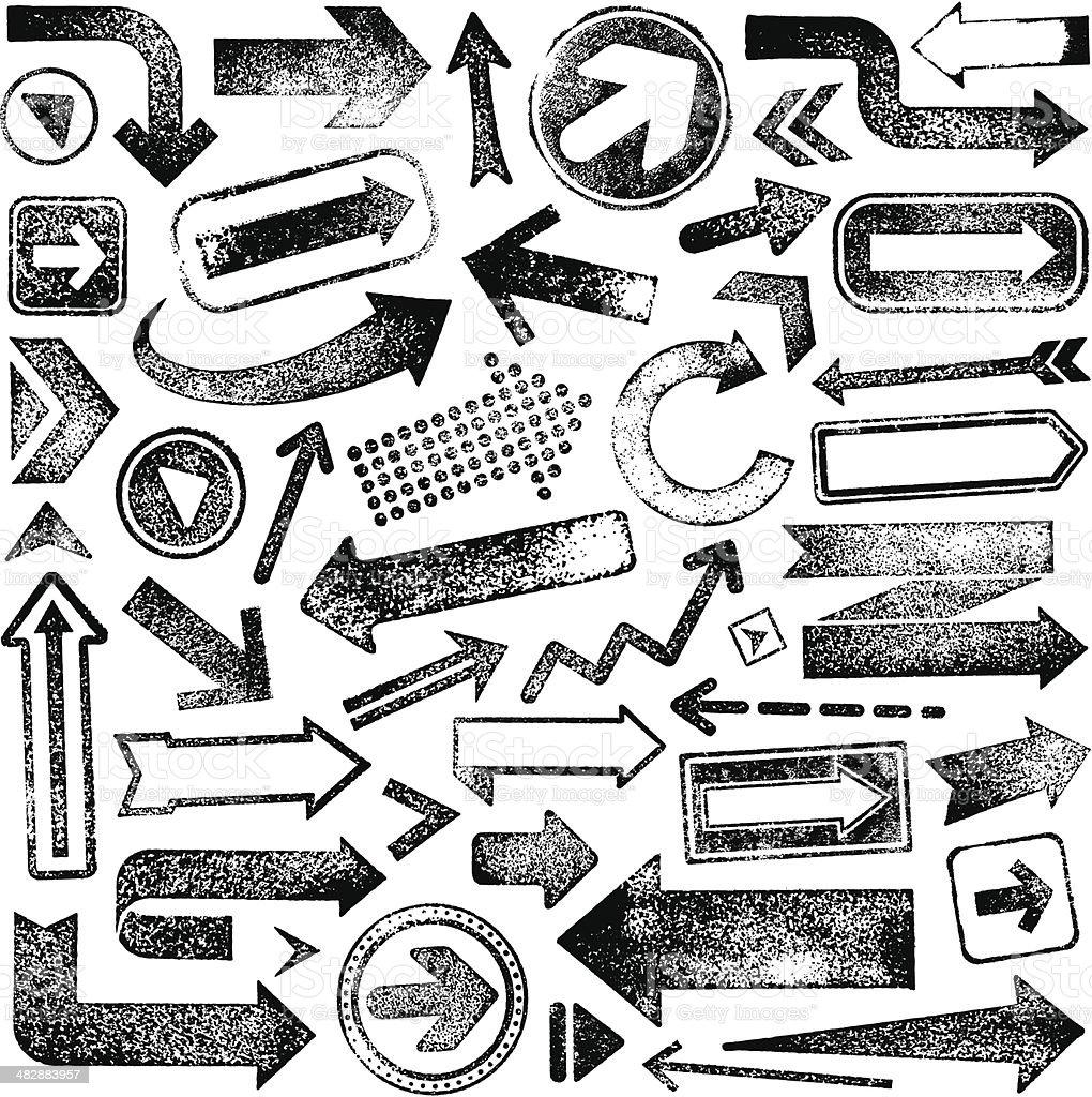 ベクトルイラストセットのゴム製スタンプ矢印 ベクターアートイラスト