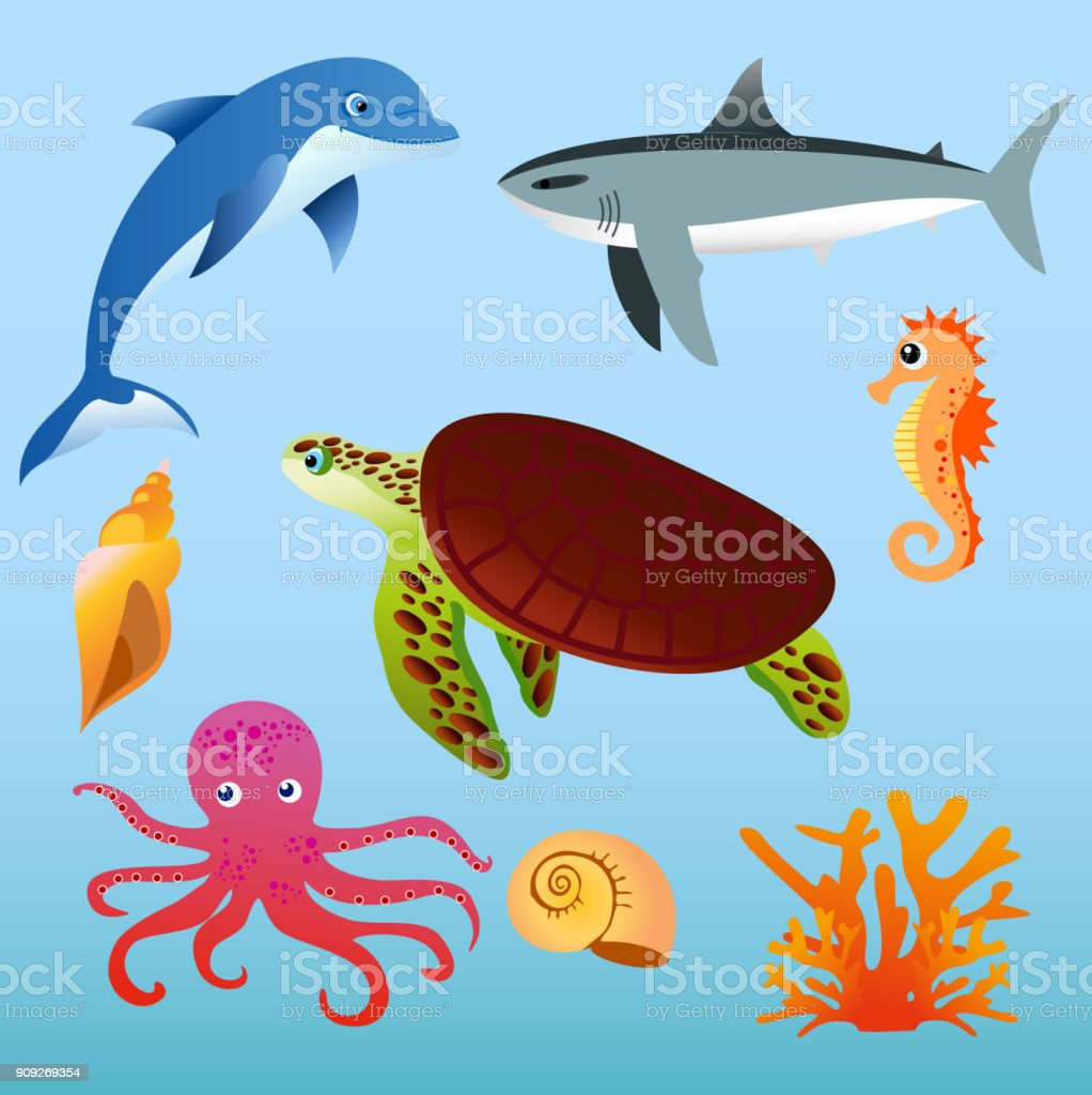 Vector illustration set of sea animals on light blue color background in flat cartoon style. vector art illustration