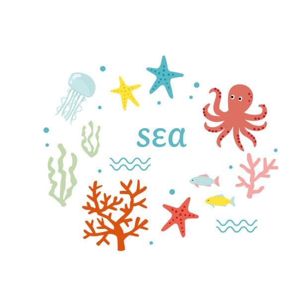 海の動物のベクトル イラスト セット - 海点のイラスト素材/クリップアート素材/マンガ素材/アイコン素材