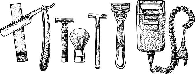 Vector illustration set of shaving accessories