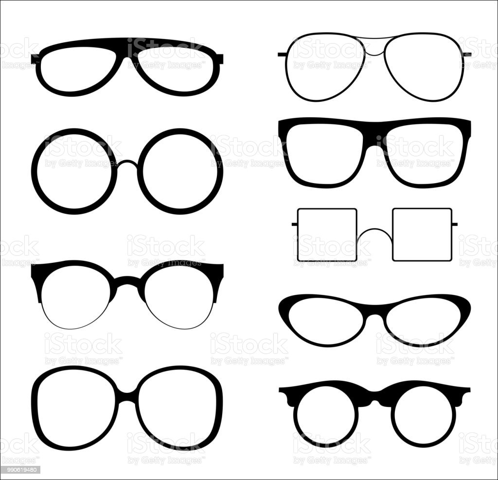 Vector illustration set of silhouettes sunglasses isolated on white color background. Glasses model icons in trendy and vintage, hipster shapes, different 80th and 90th style. vector art illustration