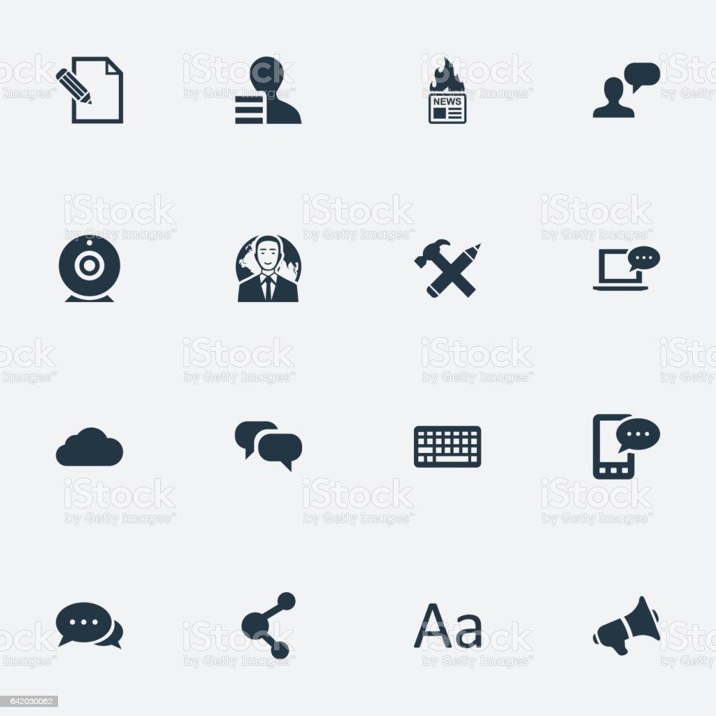 Vector ilustração conjunto de ícones simples de Blogging. - ilustração de arte em vetor