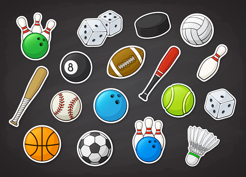 Vector illustration set of sport equipment as football, soccer, basketball, volleyball, baseball, tennis, badminton, bowling and billiard balls and bat, hockey puck and bowling pin. Stickers with contour