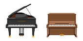 Vector illustration set of string instruments playing by striking the strings