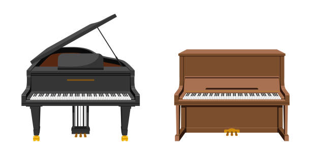 vector illustration set of string instruments playing by striking the strings - pianino instrument klawiszowy stock illustrations
