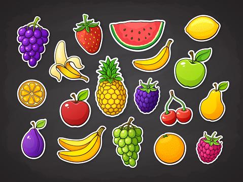 Vector illustration set of summer fruits. Strawberry, raspberry, blackberry, cherry, watermelon, apple, pear, banana, orange, lemon, pineapple, plum, grape, slice of watermelon