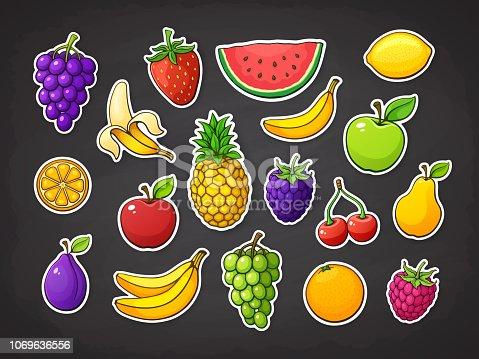 Vector illustration set of summer fruits. Strawberry, raspberry, blackberry, cherry, watermelon, apple, pear, banana, orange, lemon, pineapple, plum, grape, slice of watermelon. Stickers with contour