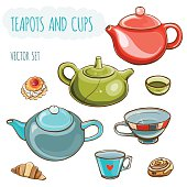 Tea set. Vector illustration set of teapots and cups.Tea time. Isolated. eps 10