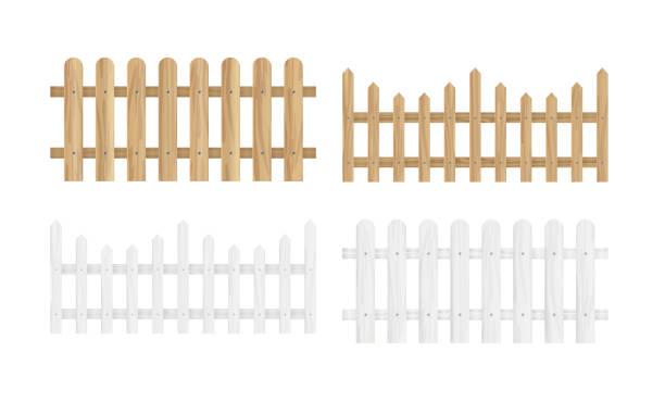stockillustraties, clipart, cartoons en iconen met vectorillustratie van de verschillende houten hekken in lichte bruine en witte kleur en verschillende vormen in vlakke stijl instellen - hek