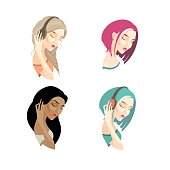 Vector illustration. set of thoughtful girl with long and short hair