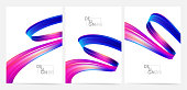 Set of three blank poster with 3d twisted colorful flow liquid shape. Acrylic paint design