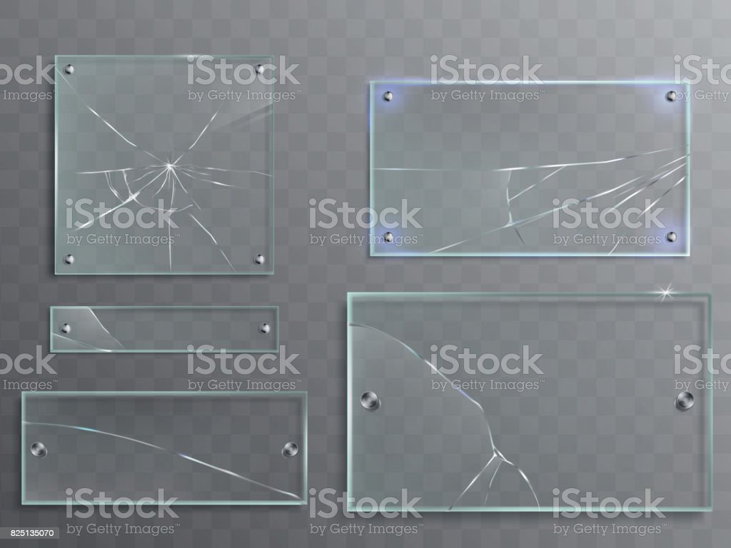 Vector illustration set of transparent glass plates with cracks, cracked panels vector art illustration