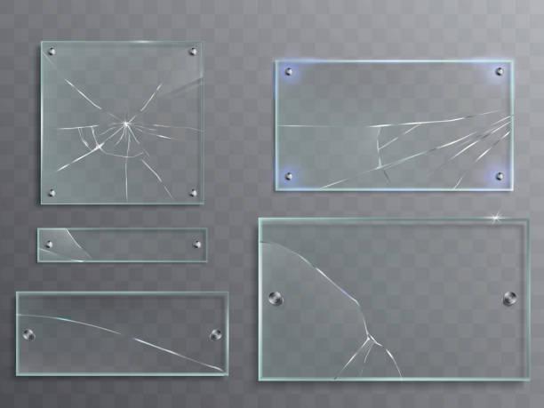 Set de Vector illustration de plaques de verre transparent avec fissures, panneaux fissuré - Illustration vectorielle