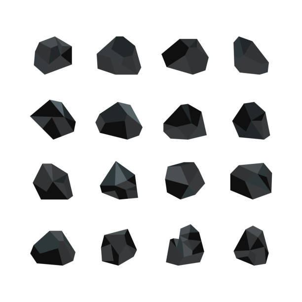 vector illustration set of various black coal pieces isolated on white background. - coal stock illustrations
