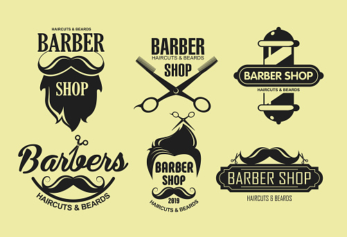Vector illustration set of vintage barber shop emblems in retro style isolated on yellow color background. Labels, badges, logos elements in silhouette style.