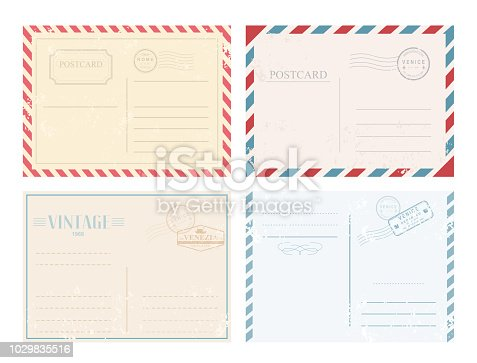 Vector illustration set of vintage postcards with stamps in retro design and pastel colors on white background