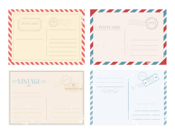vector illustration set of vintage postcards with stamps in retro design and pastel colors on white background. - postcard stock illustrations