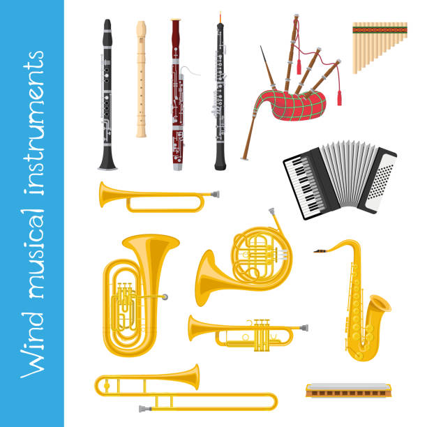 stockillustraties, clipart, cartoons en iconen met vector illustratie set muziekinstrumenten van het wind in cartoon stijl geïsoleerd op witte achtergrond - blaasinstrument