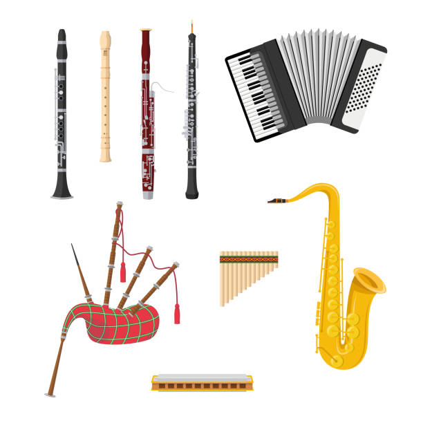 vector illustration set of woodwind musical instruments in cartoon style isolated on white background - klarnet stock illustrations