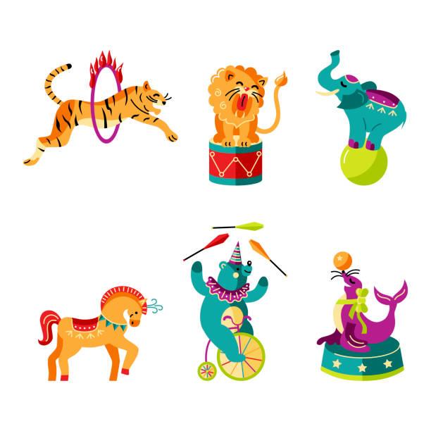 illustrations, cliparts, dessins animés et icônes de illustration vectorielle ensemble avec des animaux de cirque. - ballon anniversaire smiley