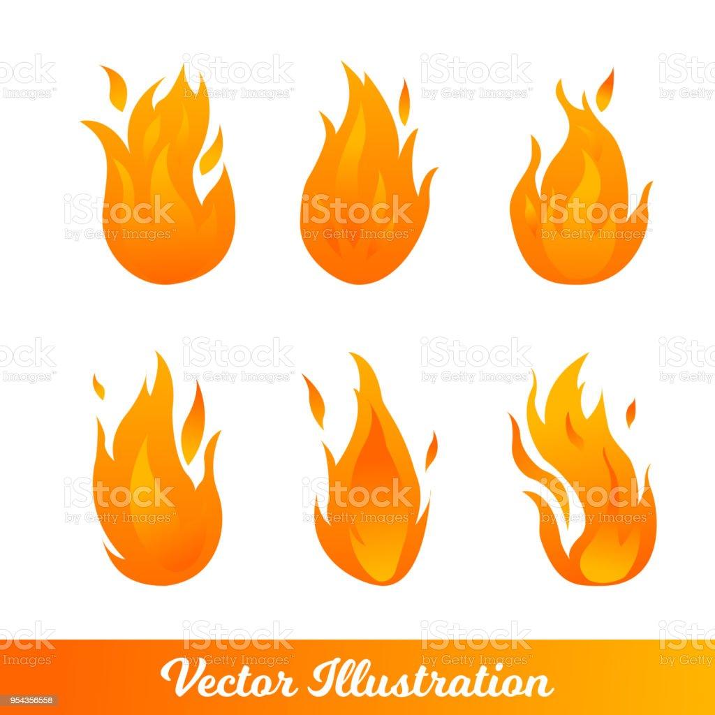 Ilustração em vetor. Conjunto com diferentes tipos de chamas gradientes. Elementos de despedir quente - ilustração de arte em vetor