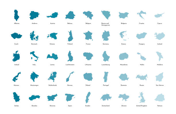 Vector illustration set with simplified maps of all European states (countries). Vector illustration set with simplified maps of all European states (countries). Blue gradient silhouettes, white background. Alphabet order lithuania stock illustrations