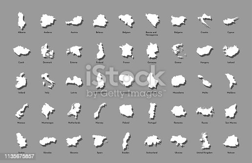 Vector illustration set with simplified maps of all European states (countries). White silhouettes, grey background. Alphabet order