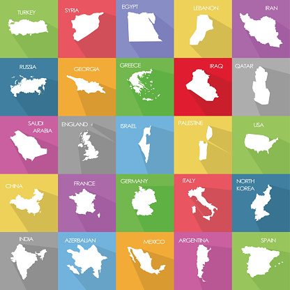 Vector illustration set with simplified maps of some states (countries). White silhouettes on solid color background. Political maps, Geographic Areas, infographic elements collection.