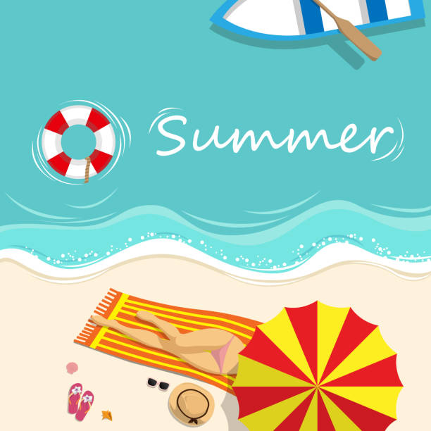 vector illustration. sexy girl in bikini sunbathing on the beach with beach umbrella and beach fashion accessory at tropical country in summer season. summer background concept - summer fashion stock illustrations, clip art, cartoons, & icons
