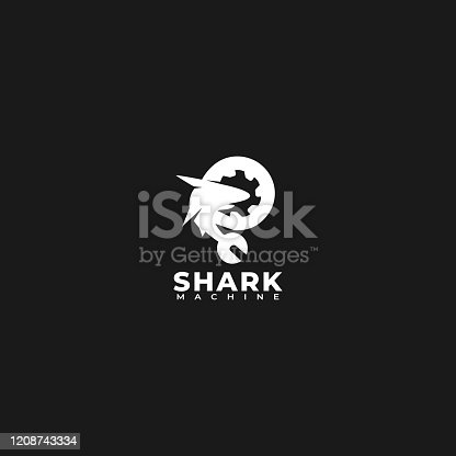 Vector Illustration Shark Machine Silhouette Style.