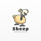 Vector Logo Illustration Sheep Simple Mascot Style.