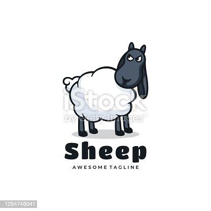 istock Vector Illustration Sheep Simple Mascot Style. 1254745041