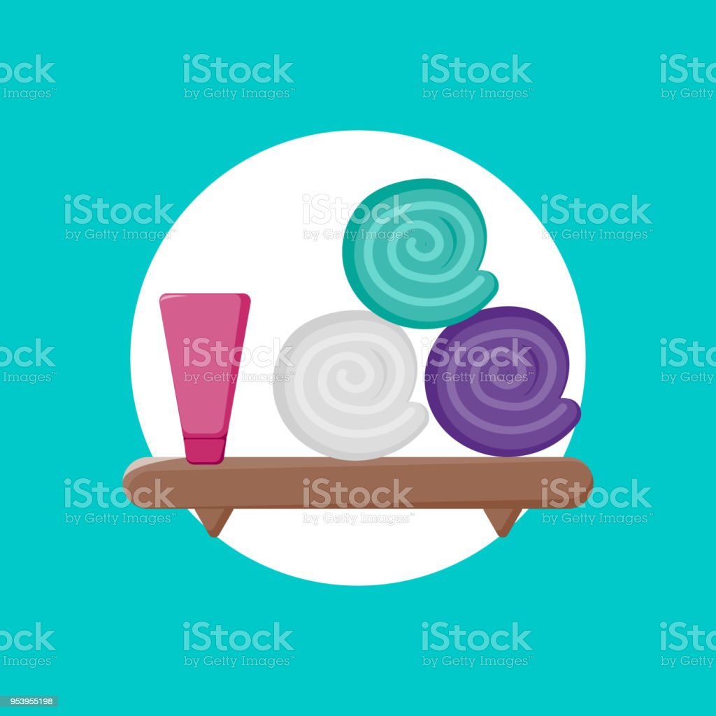 Vector Illustration Shelf Icon With Cream And Towels Icon Cartoon ...