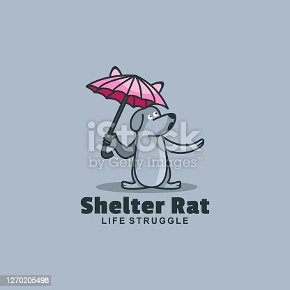Vector Illustration Shelter Rat Simple Mascot Style.