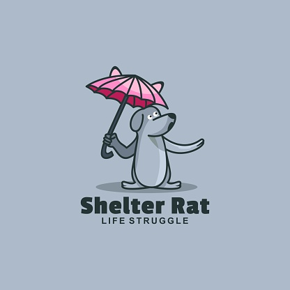 Vector Illustration Shelter Rat Simple Mascot Style.